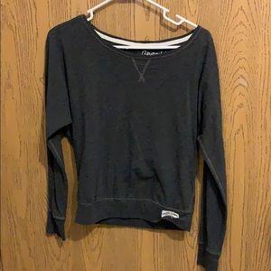 Gray off-the-shoulder shirt